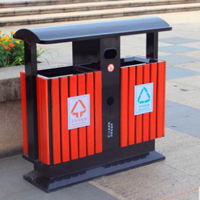 户外垃圾桶不锈钢分类大号环卫室外小区钢木双果皮箱拉圾筒垃圾箱